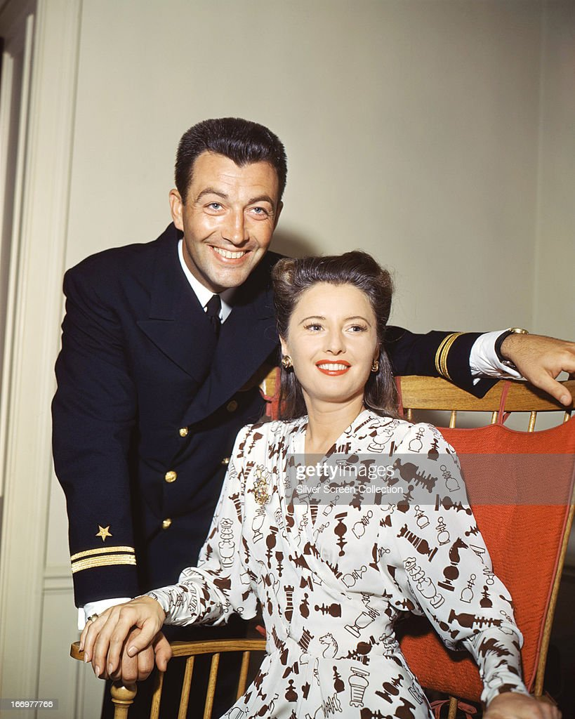 American actors <a gi-track='captionPersonalityLinkClicked' href=/galleries/search?phrase=Robert+Taylor+-+American+Actor&family=editorial&specificpeople=5411922 ng-click='$event.stopPropagation()'>Robert Taylor</a> (1911 - 1969) and his wife <a gi-track='captionPersonalityLinkClicked' href=/galleries/search?phrase=Barbara+Stanwyck&family=editorial&specificpeople=90352 ng-click='$event.stopPropagation()'>Barbara Stanwyck</a> (1907 - 1990), circa 1945. Taylor is wearing the uniform of the United States Naval Air Corps.