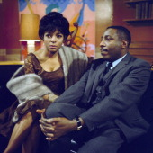 American actors Ruby Dee and Dick Gregory posed together on the set of the television drama 'Armchair Theatre Neighbours' in 1966