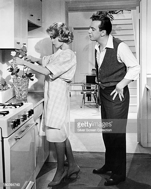 American actors Sandra Dee as Chantal Stacy and Bobby Darin as Eugene Wright in 'If A Man Answers' directed by Henry Levin 1962