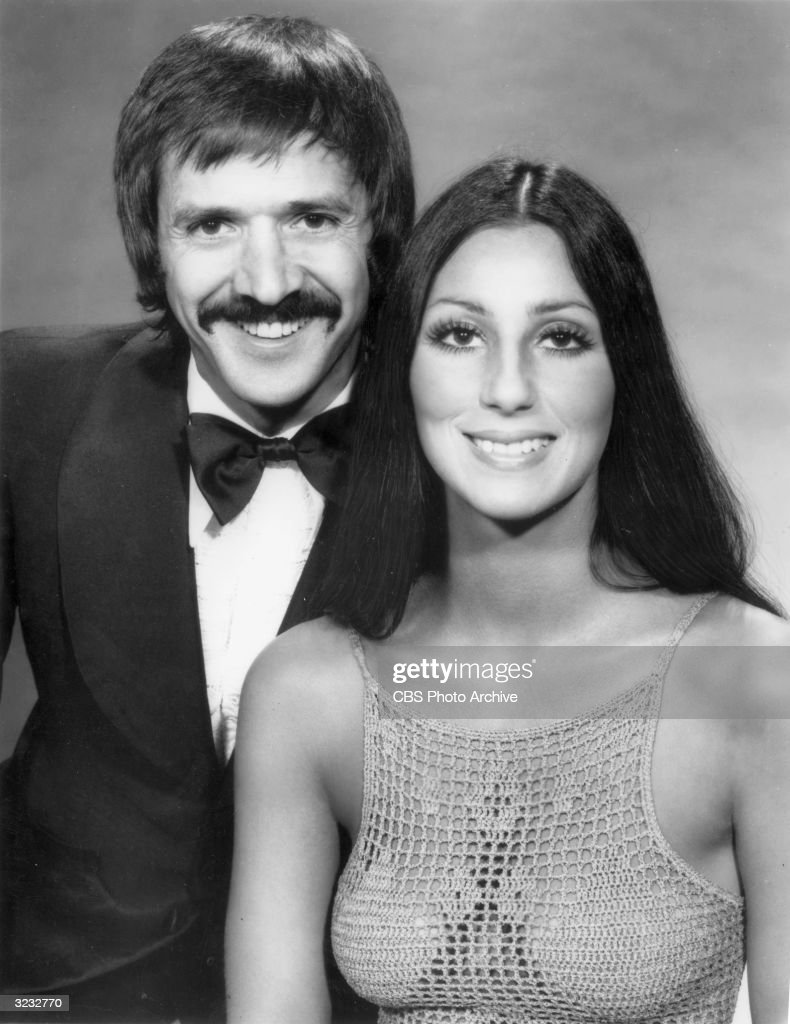 American actors singers and variety show hosts Sonny Bono and Cher pose together in a promotional portrait for 'The Sonny and Cher Comedy Hour' Bono...