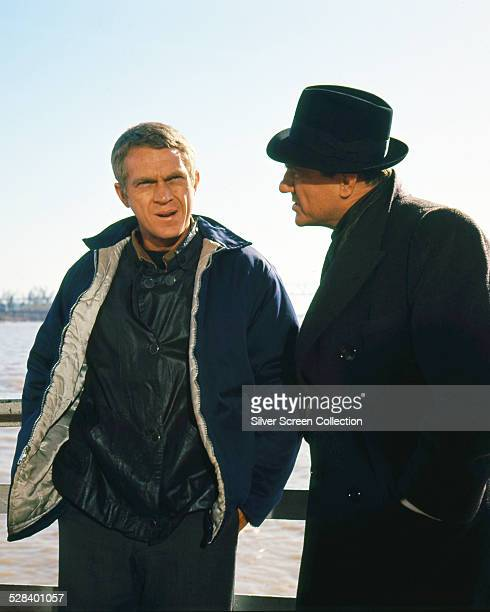 American actors Steve McQueen as Eric 'The Kid' Stoner and Karl Malden as Shooter in 'The Cincinnati Kid' directed by Norman Jewison 1965