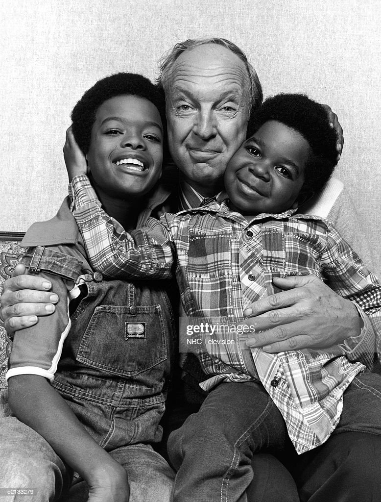 American actors Todd Bridges (L) and Gary Coleman flank Canadian actor Conrad Bain as they pose for a publicity photo for the NBC television series 'Diff'rent Strokes, 1978.