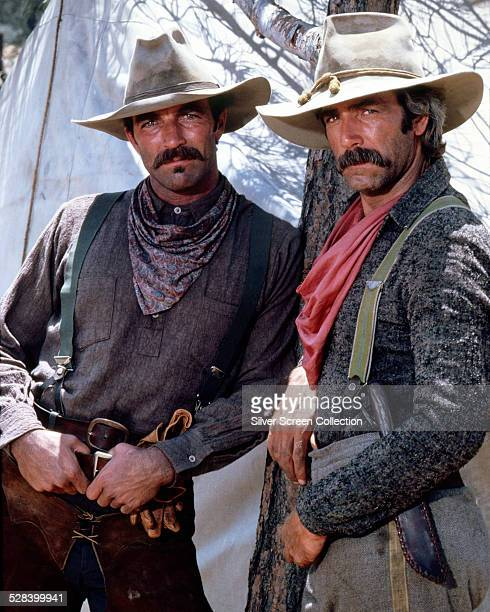 American actors Tom Selleck and Sam Elliott as Orrin and Tell Sackett in 'The Sacketts' directed by Robert Totten 1979