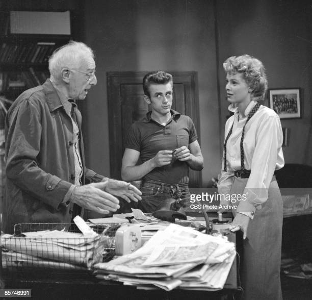 American actors Walter Hampdon James Dean and Betsy Palmer in a production still from an episode of the anthology series 'Danger' called 'Death Is My...