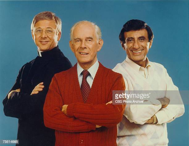 American actors William Christopher Harry Morgan and Jamie Farr in a publicity photo for the CBS spinoff from 'MASH' called 'After MASH' California...