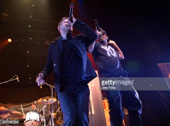 American actors/singers Malcolm David Kelley and Tony Oller of MKTO performs live onstage at Egyptian Room at Old National Centre on February 16 2014...