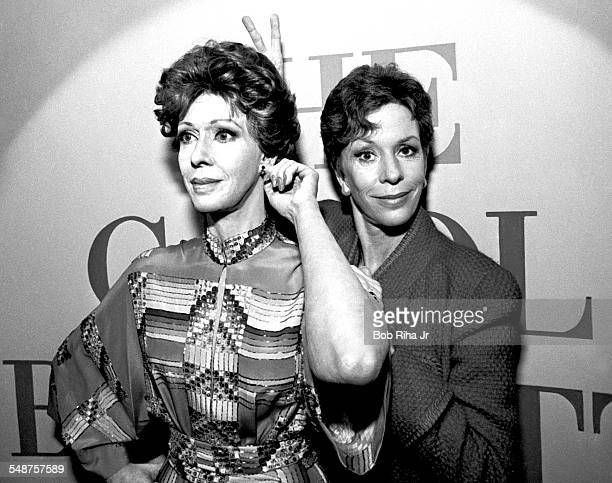 American actress and comedian Carol Burnett poses with her likeness during an unveiling ceremony at the Movieland Wax Museum Buena Park California...