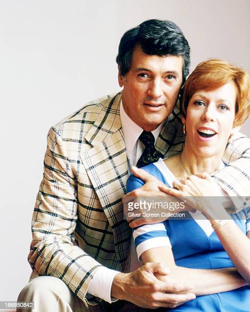 American actress and comedienne Carol Burnett with her guest on 'The Carol Burnett Show' American actor Rock Hudson circa 1975