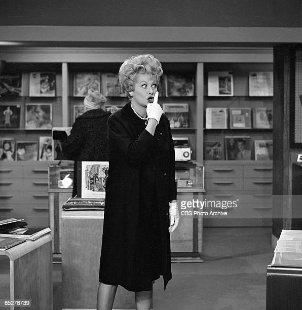 American actress and comedienne Lucille Ball as Lucille Carmichael appears in a scene on an episode of 'The Lucy Show' entitled 'Lucy the Music...