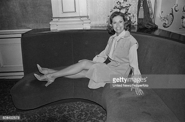 American actress and dancer Cyd Charisse pictured inside the Palladium theatre in London on 8th September 1977