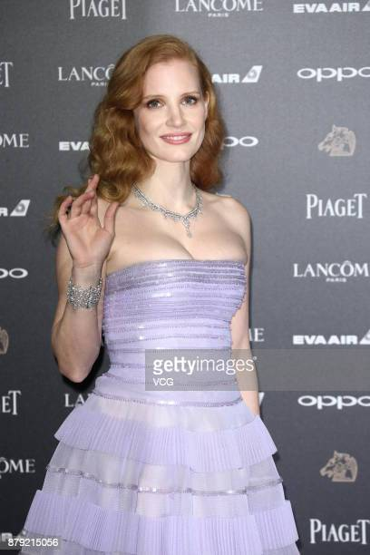 American actress and film producer Jessica Chastain poses on the red carpet for the 54th Golden Horse Awards ceremony on November 25 2017 in Taipei...