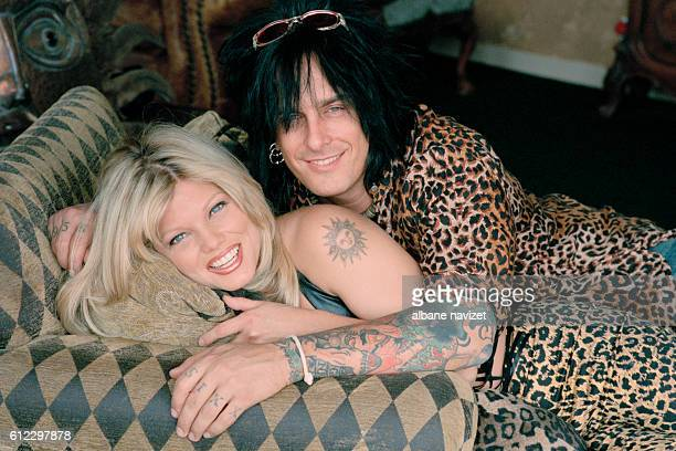 American actress and playmate Donna D'Errico and her husband songwriter bass guitarist and founder of the heavy metal band Motley Crue Nikki Sixx