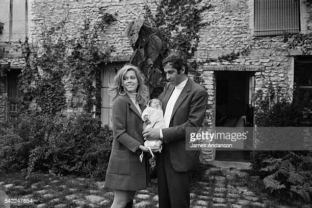 American actress and political activist Jane Fonda with her husband French screenwriter director and producer Roger Vadim and their newborn daughter...
