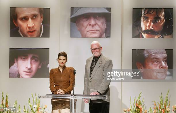 American actress and previous Oscar winner Marisa Tomei and Academy president Frank Pierson announce the 75th Academy Awards nominees for Best Actor...