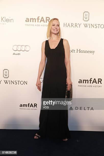 American actress and scriptwriter Uma Thurman attends the 2016 amfAR Hong Kong gala at Shaw Studios on March 19 2016 in Hong Kong China