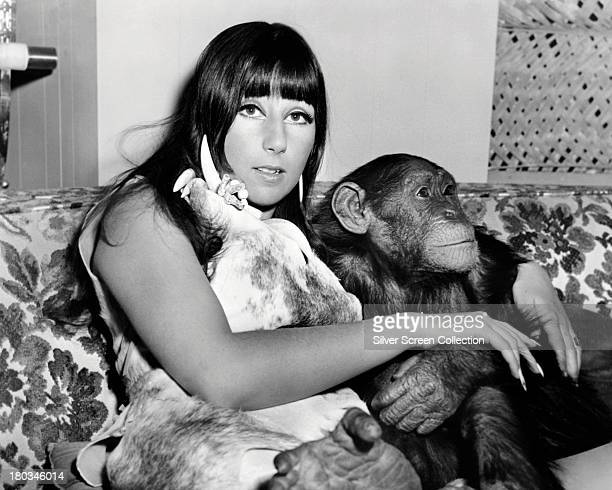 American actress and singer Cher with Toto a baby chimpanzee in a promotional portrait for 'Good Times' directed by William Friedkin 1967 The film...