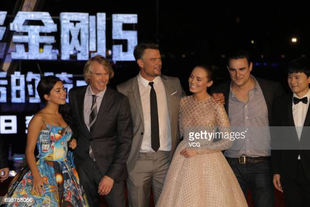 American actress and singer Isabela Moner American director Michael Bay American actor Josh Duhamel English actress Laura Haddock attend the premiere...