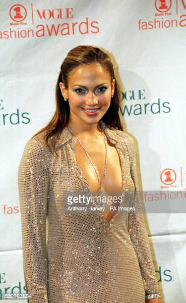 American Actress and singer Jennifer Lopez at the VH1 Fashion Awards held at the Armory in New York wearing a Versace evening dress She won the Most...