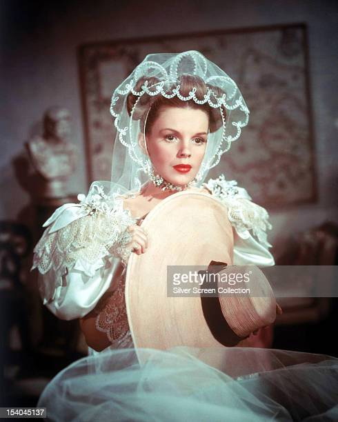American actress and singer Judy Garland as Esther Smith wearing a netting headdress in 'Meet Me In St Louis' directed by Vincente Minnelli 1944