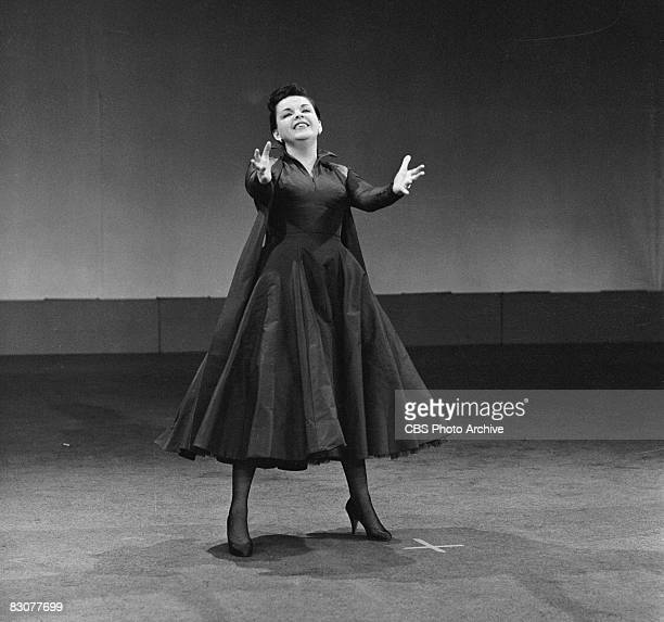 American actress and singer Judy Garland performs in an episode of the live performance anthology series 'Ford Star Jubilee' New York August 24 1955...