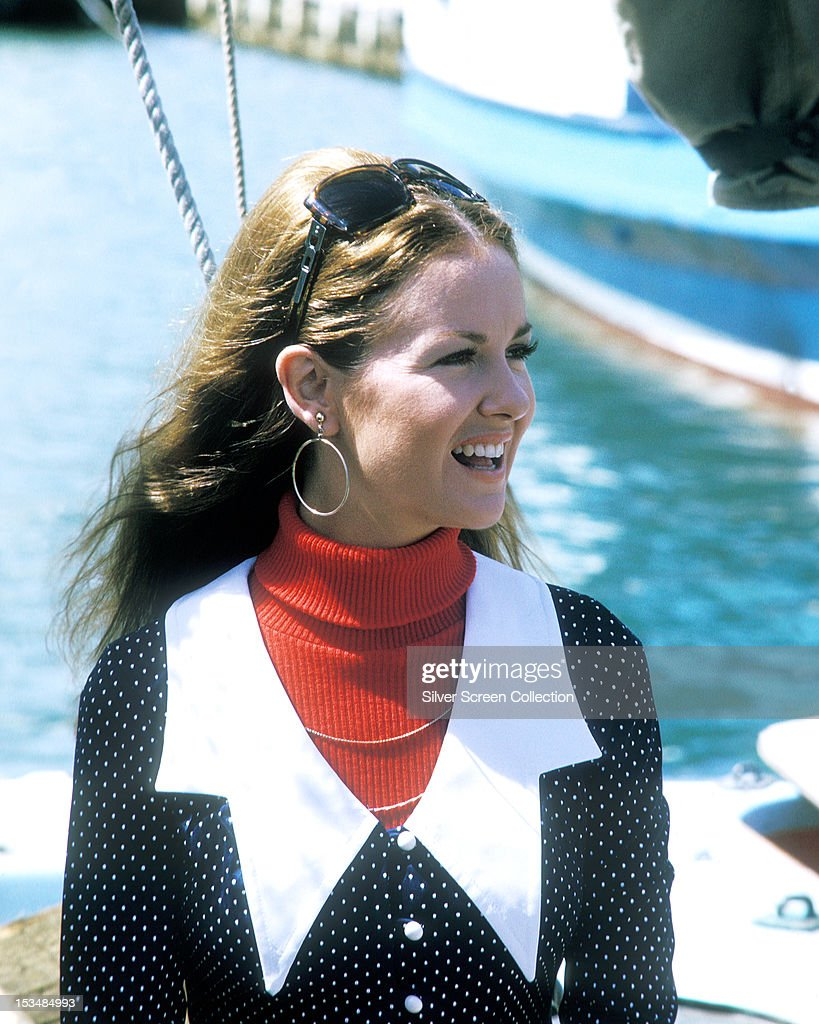American actress and singer Shelley Fabares wearing a red poloneck sweater and a dark blue polkadot top circa 1973 She plays Dr Anne Jamison in the...