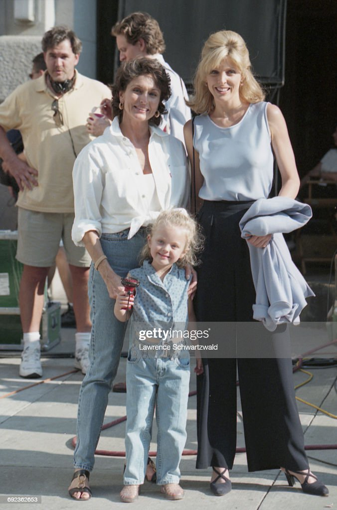 American actress and TV presenter Marla Maples (right) with her mother, Laura Ann Locklear (1940 - 2014) and daughter, Tiffany Trump, on the set of Bryan Spicer's comedy film, 'For Richer Or Poorer', New York City, USA, 6th July 1997. Maples is the wife of American businessman Donald Trump.