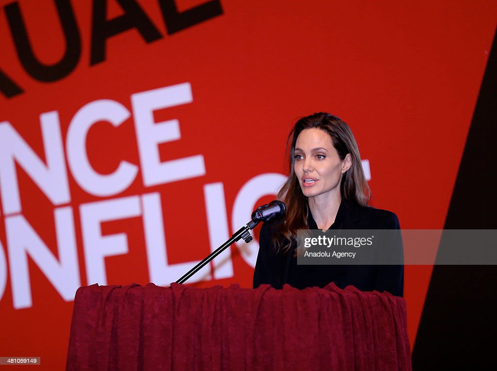 American actress Angelina Jolie makes his speech at the conference entitled Prevention of sexual violence in conflict-empowerment security forces in peace support operations' at the Dom Armije in Sarajevo, Bosnia and Herzegovina, on March 28, 2014.