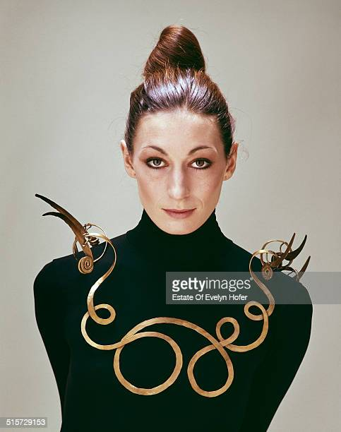 American actress Anjelica Huston wearing an Alexander Calder necklace New York 1976