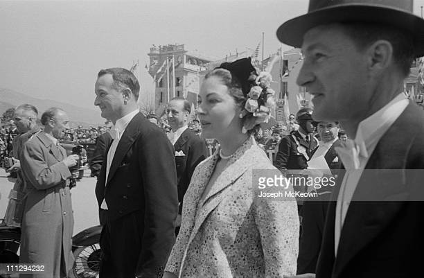 American actress Ava Gardner among the guests in Monaco on the wedding day of American actress Grace Kelly and Rainier III Prince of Monaco 19th...