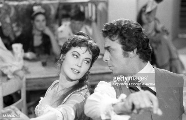 American actress Ava Gardner playing the Duchess of Alba Maria Cayetana with American actor and TV personality Anthony Franciosa playing the Spanish...