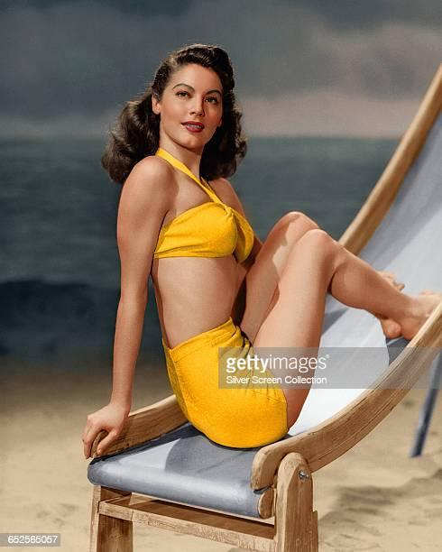 American actress Ava Gardner poses on a deckchair circa 1945