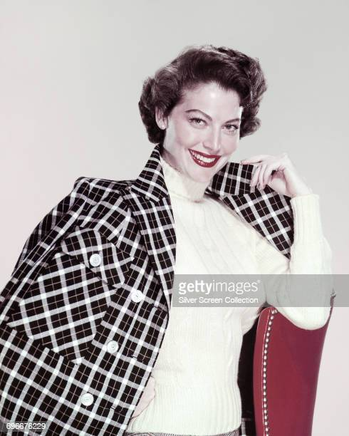American actress Ava Gardner wearing a black and white checked jacket circa 1960