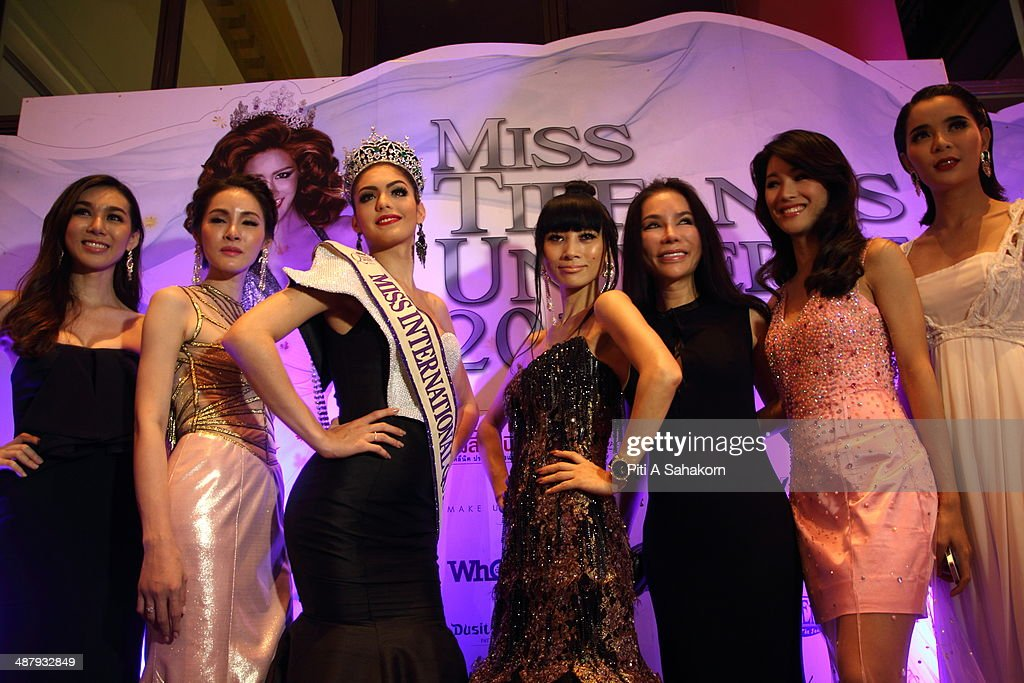 American actress Bai Ling (fourth from right) posing with the winner of Miss Queen International 2013, Marcela Ohio (third from left) from Brazil during the Miss Tiffany Universe contest 2014 In Pattaya. This year marked the 40th anniversary of the Tiffany's show in Pattaya and this was the 16th Miss Tiffany Universe contest with all of the transsexual or transvestite contestants, aiming to promote human rights for the trans-gender population in Thailand.