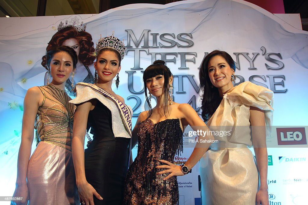 American actress Bai Ling (second from right) posing with the winner of Miss Queen International 2013, Marcela Ohio (third from right) from Brazil during the Miss Tiffany Universe contest 2014 In Pattaya. This year marked the 40th anniversary of the Tiffany's show in Pattaya and this was the 16th Miss Tiffany Universe contest with all of the transsexual or transvestite contestants, aiming to promote human rights for the trans-gender population in Thailand.