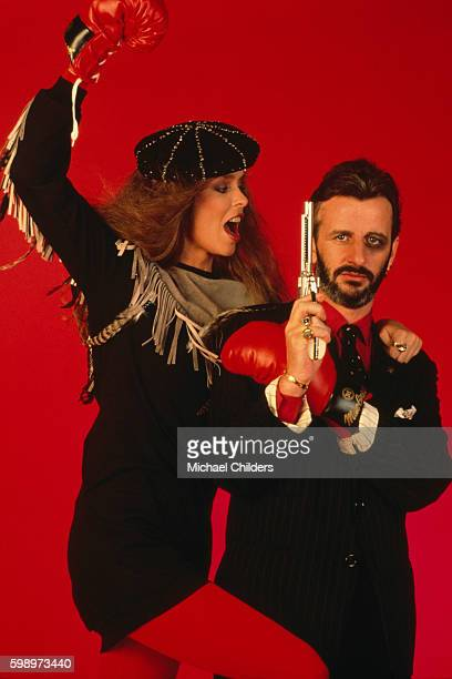 American actress Barbara Bach and her husband British singer, songwriter, actor and former drummer of The Beatles, Ringo Starr, circa 1980.