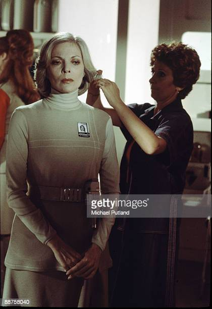 American actress Barbara Bain has her hair styled on the set of British sciencefiction TV series 'Space 1999' at Pinewood Studios Buckinghamshire...