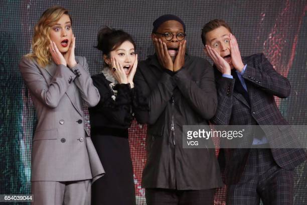 American actress Brie Larson actress Jing Tian American actor Samuel Leroy Jackson and English actor Tom Hiddleston attend the press conference of...