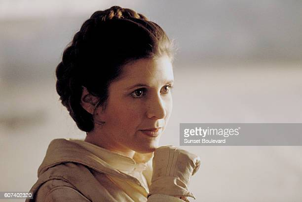 American actress Carrie Fisher on the set of Star Wars Episode V The Empire Strikes Back directed by Irvin Kershner