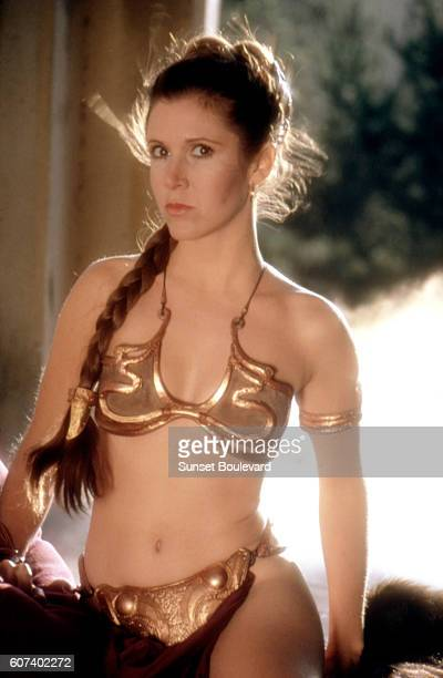American actress Carrie Fisher on the set of Star Wars Episode VI Return of the Jedi directed by Welsh Richard Marquand