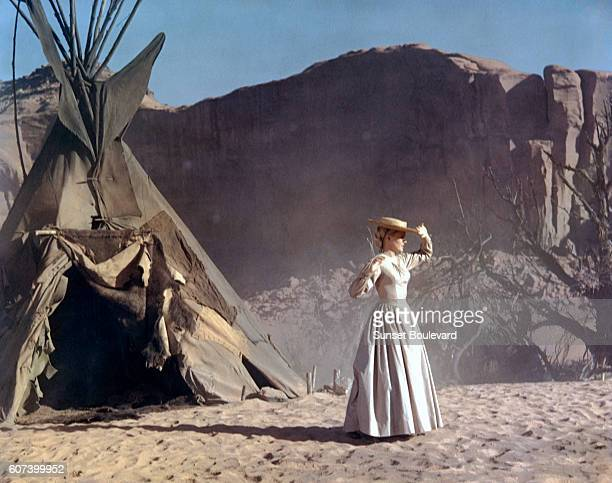 American actress Carroll Baker on the set of Cheyenne Autumn directed and produced by John Ford