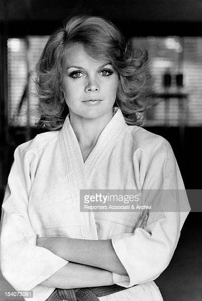 American actress Carroll Baker wearing a judo uniform Rome March 1970