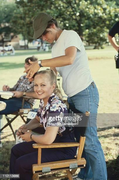 American actress Charlene Tilton on the set of the television soap opera 'Dallas' circa 1980