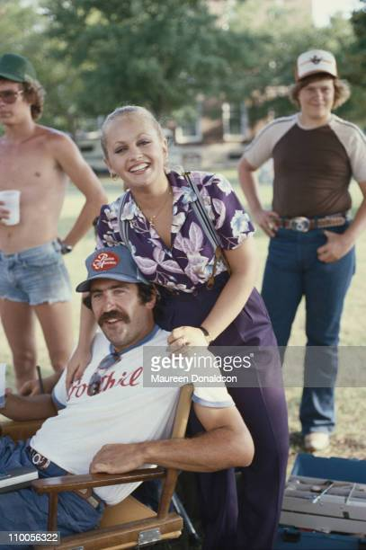 American actress Charlene Tilton with crew members on the set of the television soap opera 'Dallas' circa 1980