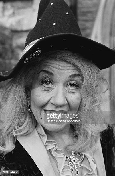 American actress Charlotte Rae posed in character as Miss Cackle on the set of the television film 'The Worst Witch' on 5th February 1986