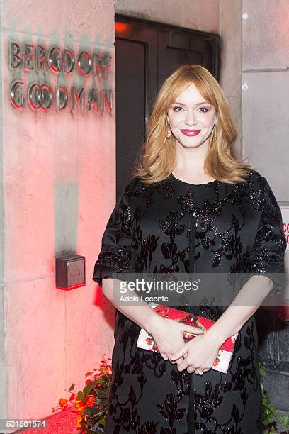 American Actress Christina Hendricks atteds Bergdorf Goodman X Gemfields VIP Party at Bergdorf Goodman on December 15 2015 in New York City
