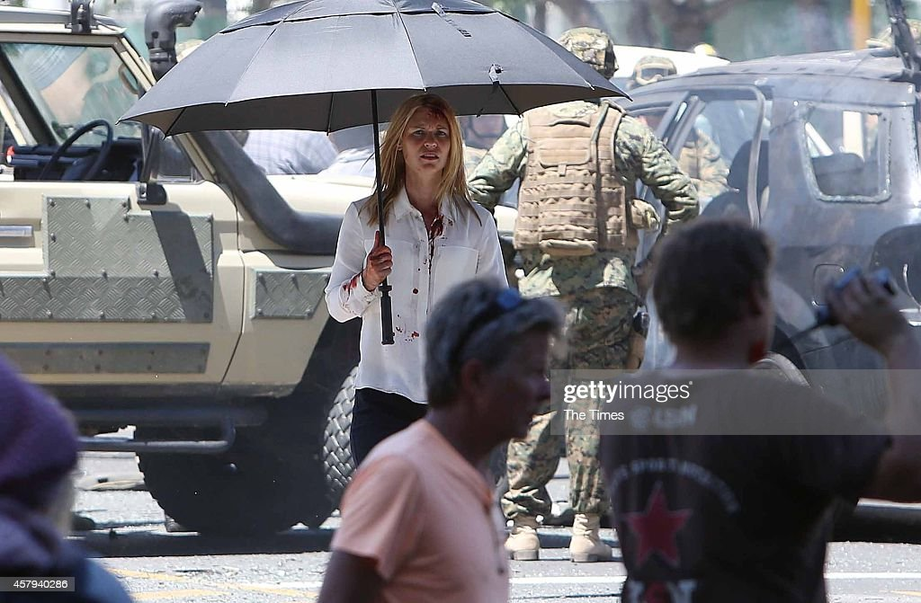 American actress Claire Danes during the filming of Homeland on October 25 2014 in Cape Town South Africa Parts of Cape Town came to a standstill...