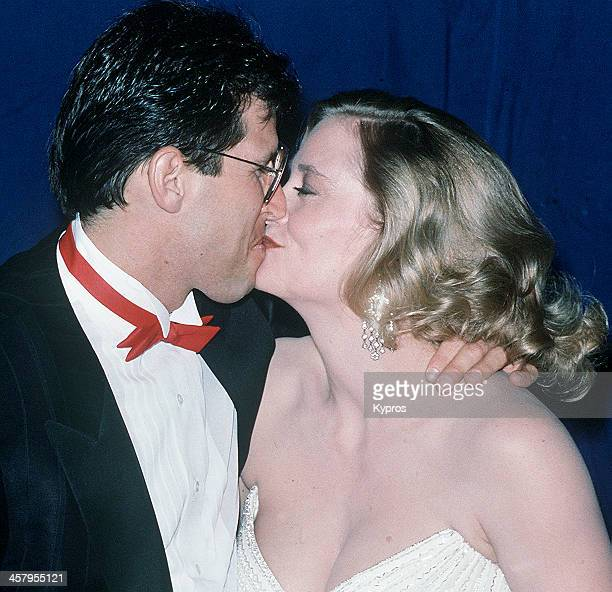 American actress Cybill Shepherd kissing her husband Bruce Oppenheim at the 14th Annual People's Choice Awards at 20th Century Fox Studios in Los...