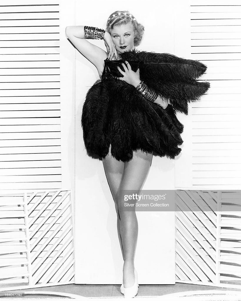 American actress, dancer and singer <a gi-track='captionPersonalityLinkClicked' href=/galleries/search?phrase=Ginger+Rogers&family=editorial&specificpeople=93466 ng-click='$event.stopPropagation()'>Ginger Rogers</a> (1911 - 1995) wearing ostrich feathers, circa 1935.