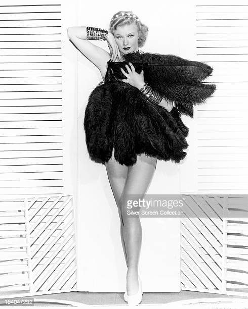 American actress dancer and singer Ginger Rogers wearing ostrich feathers circa 1935