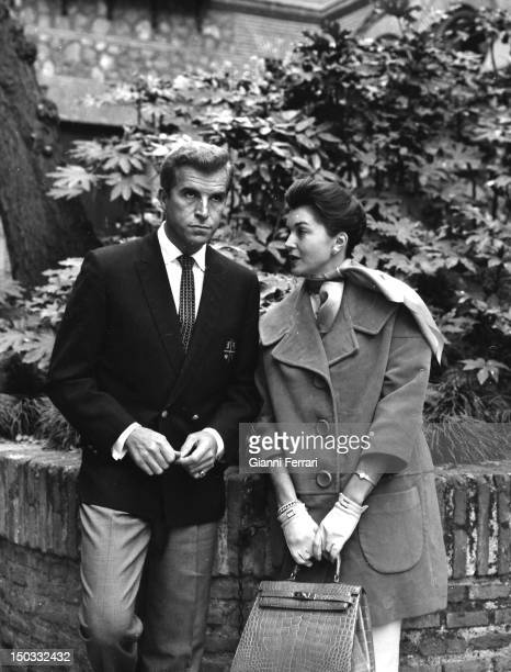 American actress Esther Williams and the Argentine actor Fernando Lamas during a walk in the 'Plaza Mayor' Madrid Spain